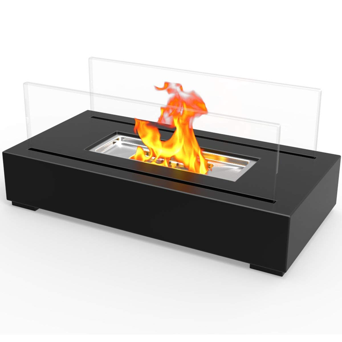 Realistic Clean Burning Like Gel Fireplaces or Propane Firepits Regal Flame Utopia Ventless Indoor Outdoor Fire Pit Tabletop Portable Fire Bowl Pot Bio Ethanol Fireplace in Black