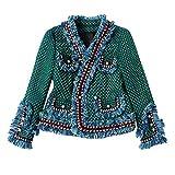 NOBRAND - Chaqueta de tweed para mujer (forro cepillado), color verde Verde verde M