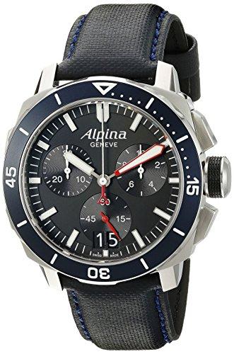 Alpina hombres de al-372lbn4V6Seastrong Buzo 300Cronógrafo pantalla grande de fecha analógica Swiss reloj de cuarzo azul