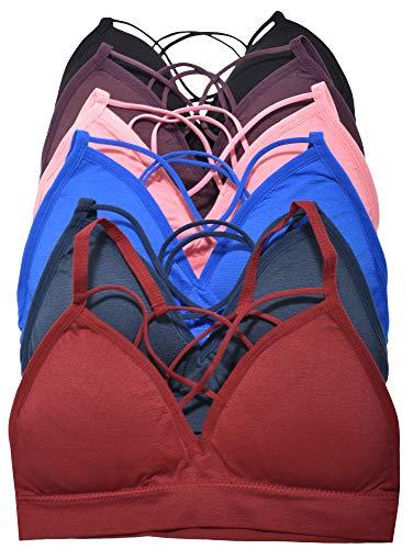 ToBeInStyle Women's 6 Pack Sexy Strap Bralette - L/XL