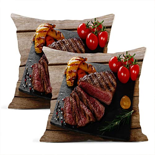 Zynii Pillowcase 18 * 18 Inch Grilled Beef Steak Rare Sliced with Vegetables Decorate Your Room and Living Room to Bring You Comfort as a Present