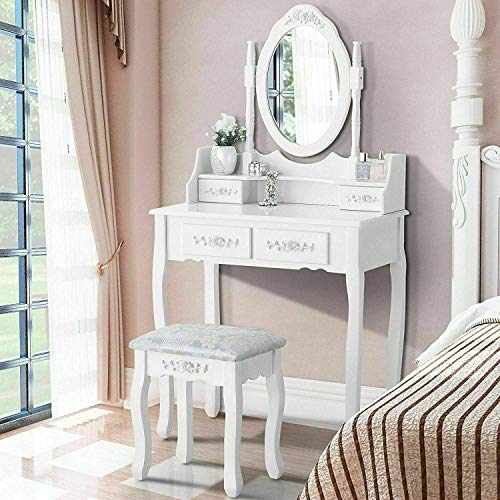 Iglobalbuy Tocador, Escritorio de Maquillaje con Taburete, Mesa de cosmética Blanca con Espejo para el Dormitorio (BDT1204)