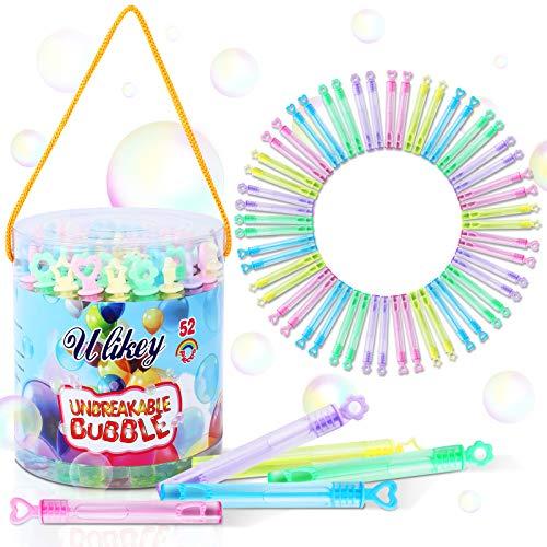 Ulikey 52 Flaconcini Bolle di Sapone, Tubetti di Sapone, Wedding Bubbles, Bacchetta Mini Bolle di Sapone per Matrimonio, Compleanno, Battesimo, San Valentino, Feste in Giardino (Colour 2)
