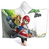 Super Mario Travel Hooded Blanket Super Mario VS Bowser Warm, Cozy, Extra Soft