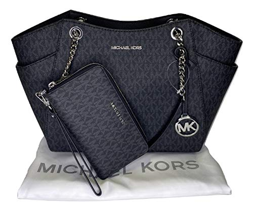 MICHAEL Michael Kors Jet Set Travel Large Chain Shoulder Tote bundled with Large Flat MF Phone Case Wallet Wristlet (Signature MK Black)