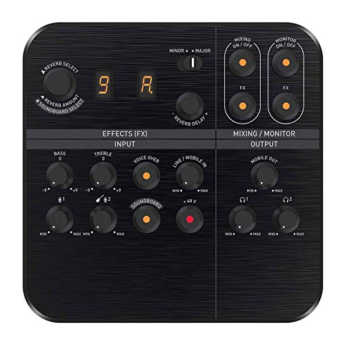 QCHEA USB Powered 2 Channel Digital Mixer AMP/DAC/, Digital Effects XLR Inputs with Phantom Power/TRS/Z Line Inputs