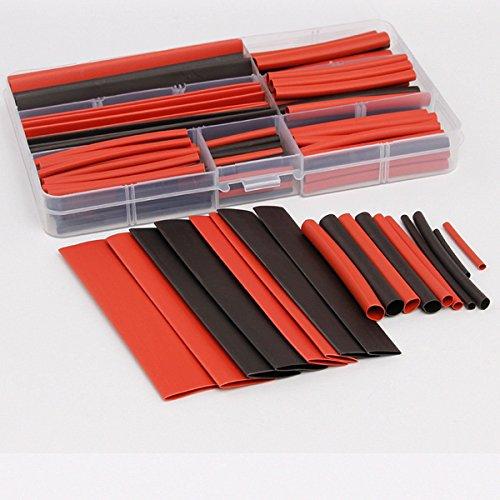 ARCELI 150 PCS 2: 1 Polyolefin-halogenfreier Schrumpfschlauch Wire Wrap Kit Elektrisches Kabel Verbindungshülse Schlauch-Sets Verschiedene Größen 8 Größen 2-13mm Schwarz & Rot mit Gehäuse