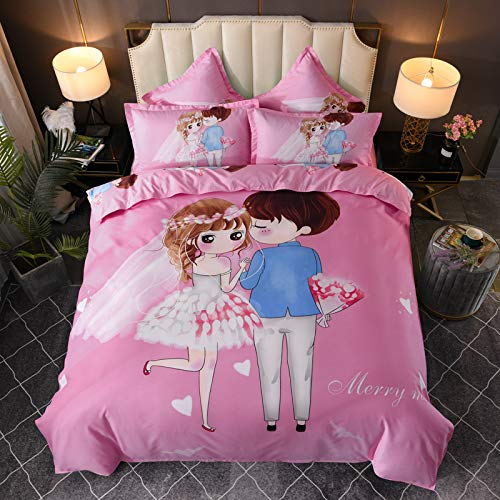 Big Flower Cartoon Pattern Quilt Cover Pillowcase, Suitable For Wedding Rooms, Suitable For Super Soft And Comfortable Bedding, Universal Polyester Large Bedroom Home Textiles For All Seasons