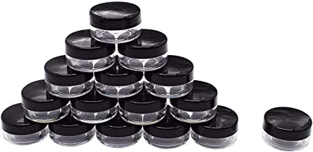 25 Pieces 10 Gram Empty Plastic Cosmetic Containers, Clear Round Sample Pot Jar Screw Black Cap Lid, For Lip Balm, Eye Shadow, Nail Powder, Creams, Lotions-BPA Free