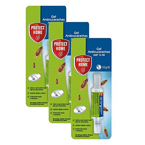 Protect Home Gel Anti Cucarachas, acción inmediata y eficacia total, 1 jeringuilla, 10gr 3, Blanco, Pack 3 x 10 gramos