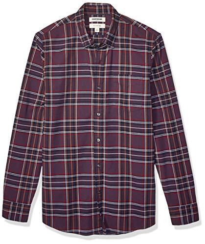 Goodthreads Slim-fit Long-Sleeve Plaid Oxford Shirt Camisa abotonada, Purple Red Tartan, S