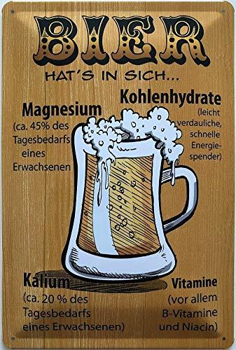 Deko7 Blechschild 30 x 20 cm Bier hat`s in Sich - Magnesium - Kohlenhydrate - Kalium - Vitamine