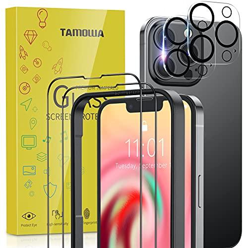 TAMOWA Vetro Temperato Compatibile con iPhone 13 Pro, Contenere 2 Pezzi Pellicola Vetro Temperato e 2 Pezzi Pellicola Fotocamera, 9H Hardness, Ultra Resistente, con Cornice di Installazione
