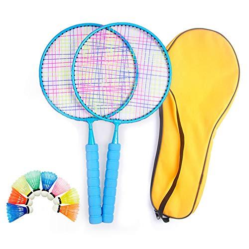Mini conjunto de raquetas de bádminton para niños, raqueta de práctica de entrenamiento con 1 par de raquetas,8 bádminton y 1 mochila, para juegos deportivos al aire libre en interiores de 3 a 12 años