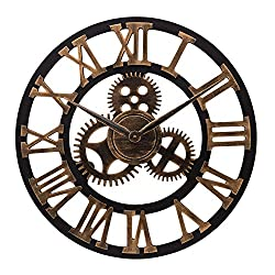 ufengke Industrial Large Gear Wall Clock Gold Roman Number Skeleton Quartz Clocks for Living Room Bedrooms Lounge 23
