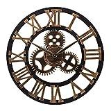 ufengke Reloj de Engranajes de Pared Grande Vintage Oro Reloj Quartz Madera Industrial para Salon Exterior, Diámetro 58cm