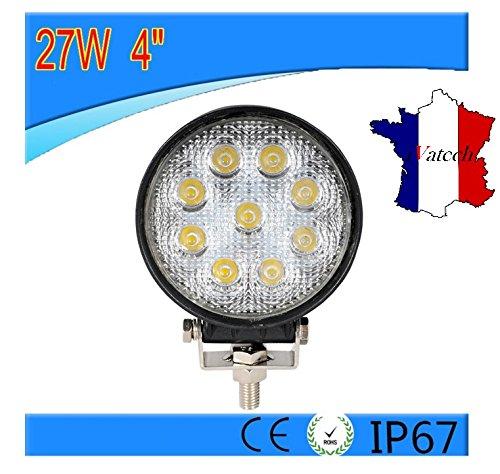 27W ROND LAMPE DE TRAVAIL 12V 24V PUISSANT LED VEHICULES UTILITAIRES UNIVERSEL