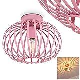 Lámpara de techo Mattmar de metal Rosa, 1 x E27 max. 40, diseño Vintage/Retro con efecto luminoso, adecuado para bombillas LED, ideal para dormitorio y salón