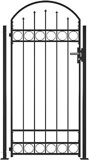 vidaXL Brama ogrodzeniowa z łukowatą górą i 2 słupkami na zewnątrz do ogrodu na podwórko na drogę wejściową drzwi bariera ...