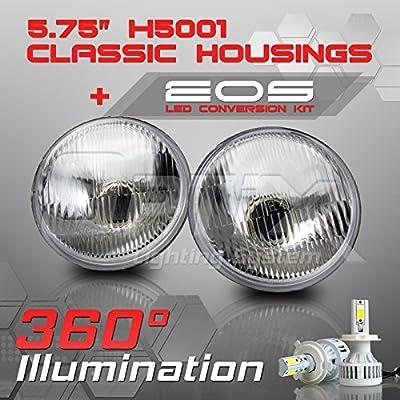 Sealed Beam Headlight - Clear Glass Classic / Diamond Cut Housing - H4 LED Conversion Kit 6000K Cool White 8000LM 80W