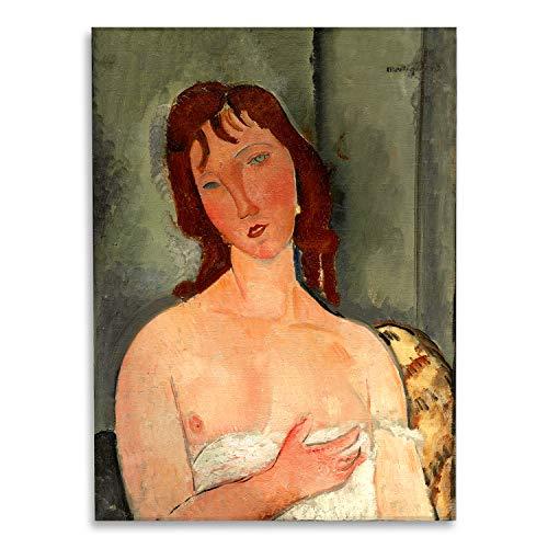 Giallobus - Schilderij - Amedeo Modigliani - Portret van een jonge vrouw - bedrukking op plexiglas acryl - klaar om op te hangen - Diverse formaten - 70x100 cm
