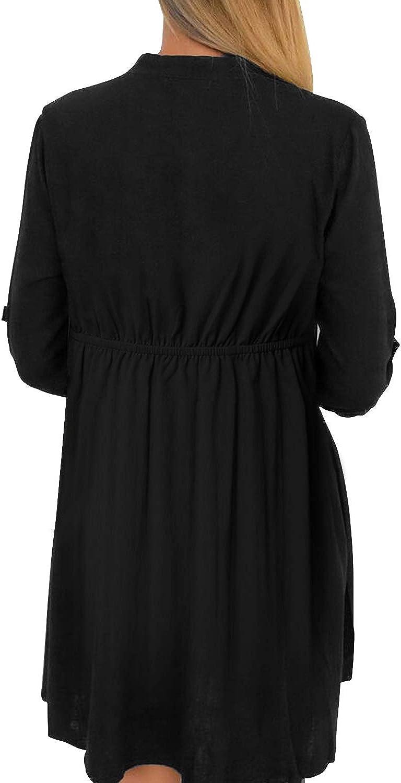 YOINS Damen Kleider Knielang Blusenkleid Elegant Longshirt V-Ausschnitt 1/2 Ärmel Hemdkleid Brautkleid mit Knopfen Schwarz
