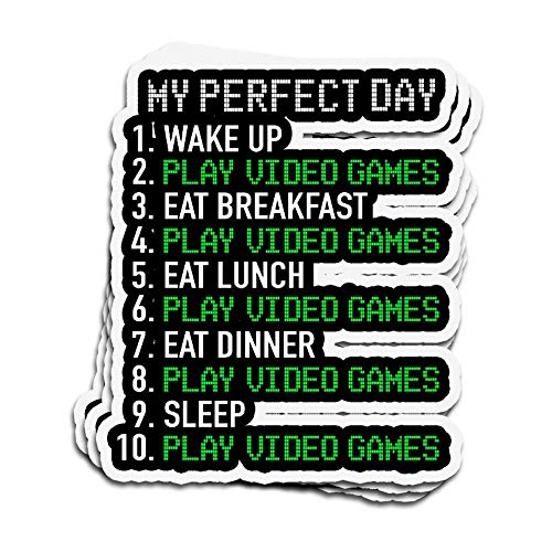 DKISEE 3 PCs Stickers My Perfect Day Video Game Gamer for Boy Or Girl Games Funny Die-Cut Wall Decals for Laptop Window 4 inches