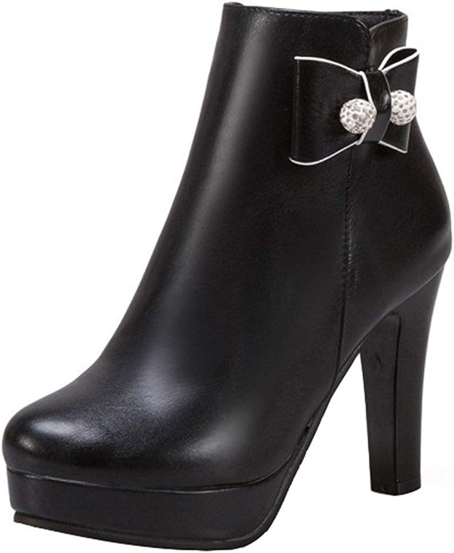 Gedigits Women's Sexy Bow Rhinestone Chunky High Heel Bridal Ankle Booties Platform Round Toe Side Zipper Short Boots Black 6 M US