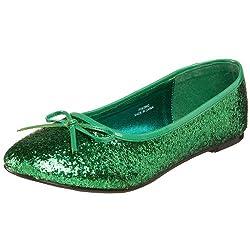Dark Green Glitter Star-16G Flat Shoes