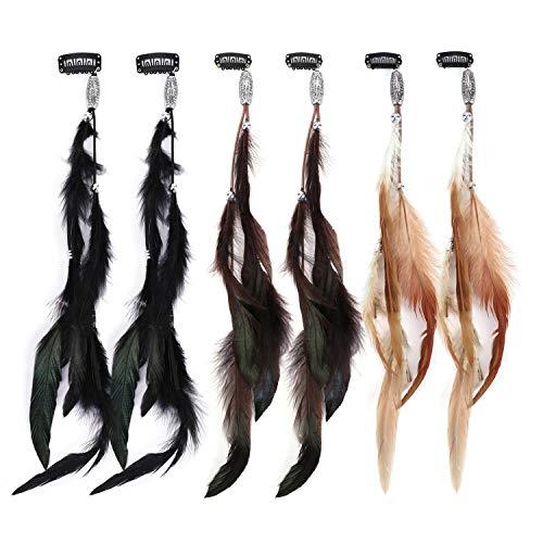 MWOOT Plume Accessoires Cheveux avec Pinces à cheveux (Lot de 6), Bohème & Indien Coiffe, Femmes Plume Extensions de cheveux, Bardage Accessoires Cheveux pour Cosplay Toussaint Thème de la Fête