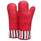 RED LMLDETA Heat Resistant 550 Degree Oven mitt, Silicone Oven Hot Mitts - 1 Pair, Extra Long...