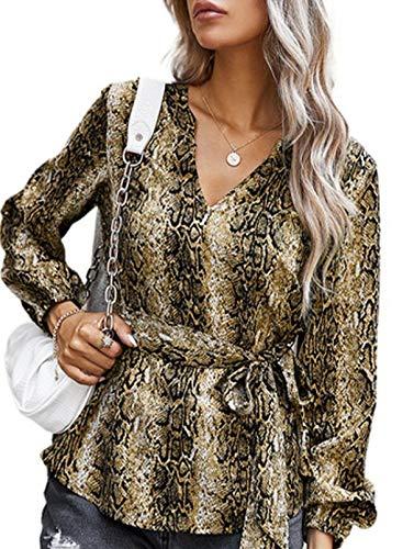 CORAFRITZ Blusa de piel de serpiente, estilo vintage, con cuello en V, con lazo en la cintura, cómoda y...