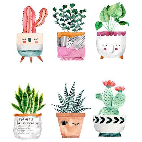 Hanomes Plantas Suculentas Pegatinas De Pared Cactus Vinilo Adhesivo Decorativo para Las Niñas Habitación De Niño Wall Stickers Salón Dormitorio TV Fondo Inicio 14.8X21Cm (A)