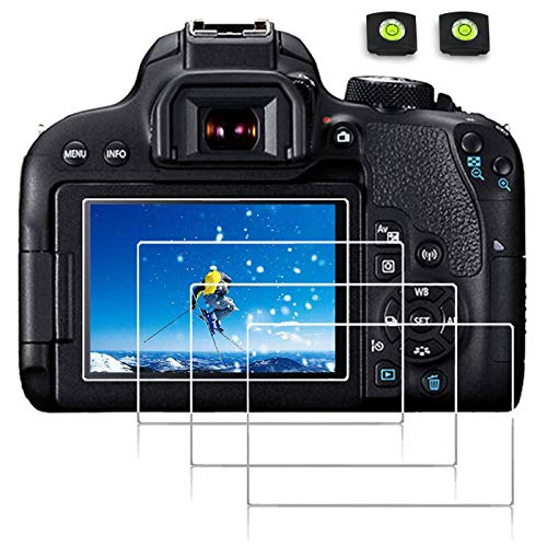 debous Screen Protector Compatible Canon eos 90D 80D 70D 77D 9000D 8000D 800D 760D 750D 700D 650D 7DII 7D MARIK II rebel T7I T6S T6I T5I Tempered Glass Hard Film 4pack