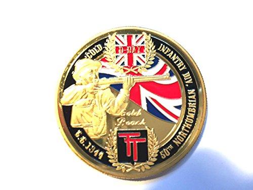 Cross My Heart 2 Guerra Mundial 2 chapado en oro de 24 K 40 mm Medalla de Moneda Día D Espada Playa de Oro 1944