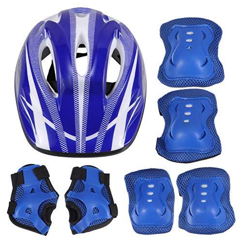 BESPORTBLE 7Pcs Niños Rodilleras Coderas Protectores de Muñeca Equipo de Protección Casco de Bicicleta para Patinar Patineta Ciclismo Patinaje Bicicleta Scooter Montar Azul