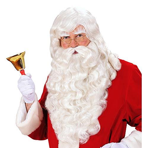 Widmann S0785 – Perücke Santa Claus, mit Bart, Schnurrbart und Augenbrauen, weiß, Nikolaus, Weihnachtsmann, Set, Kostümaccessoire, Weihnachten, Nikolaustag, Motto Party, Karneval