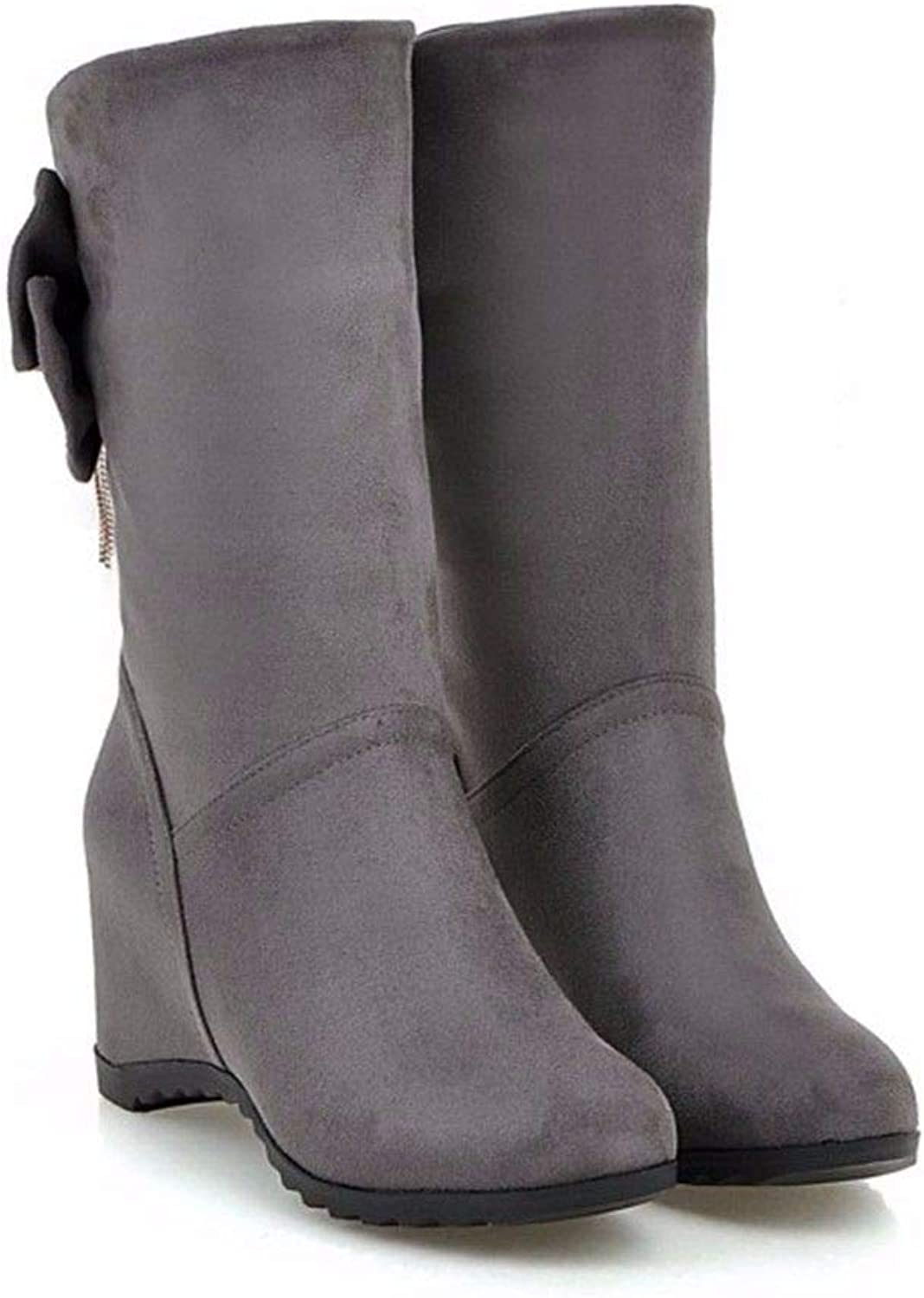 Autumn red Wine Increased Grey Lady high-Heeled shoes Boots Boots Size Wedding shoes