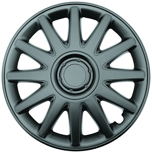 """Topline Products C8060-15B Satin Black 15"""" ABS Wheel Cover   Universal Hubcap   High Impact Strength   Heat-Resistant   Pack of 4"""