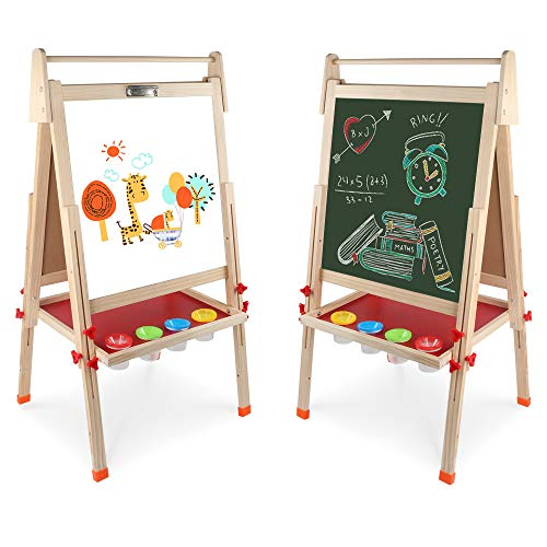 Wooden Art Easel Double-Sided Whiteboard and Chalkboard Adjustable Standing Easel with Paper Roll Holder,Extra Letters and Numbers Magnets and Other Accessories for Kids Toddlers Boys and Girls