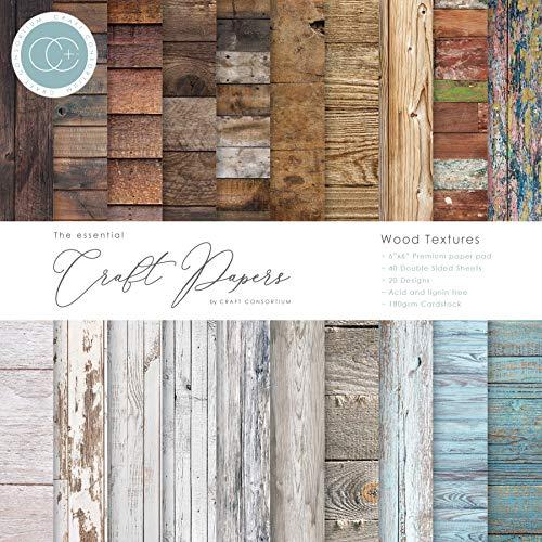 CRAFT CONSORTIUM LTD CCEPAD001B Bastelpapier aus Holz, 15,2 cm, Holzstruktur, 20 Designs, Einheitsgröße