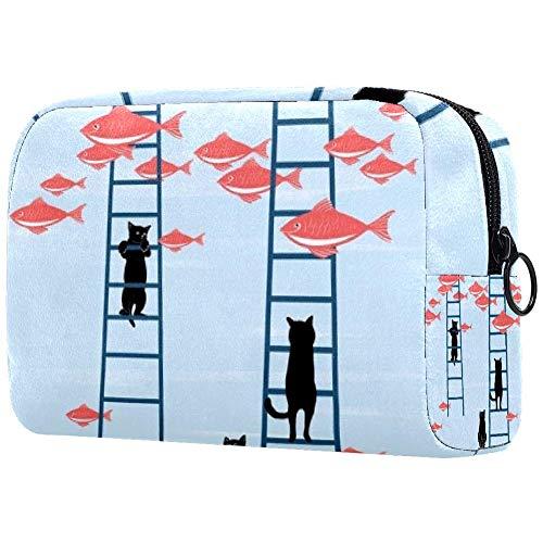 Kosmetiktasche für Make-up-Pinsel, tragbar, für Damen, Handtasche, Kosmetiktasche, Reise-Organizer, Katze, Kletterleiter