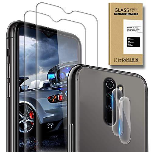 SAMCASE [2 Pack] Protector de Pantalla para Xiaomi Redmi Note 8 Pro y [2 Pack] Protector de Lente de cámara, Cristal Templado [9H Dureza] [Sin Burbujas] [Anti-Arañazos] HD Cristal Vidrio Templado
