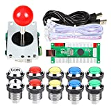EG STARTS Arcade DIY Kit USB Encoder to PC Joystick + 8 Ways 5 Pin Stick + Chrome Plated LED Illuminated Push Button 1 Player & Coin Buttons for Arcade Mame Raspberry Pi 2 3 3B Games