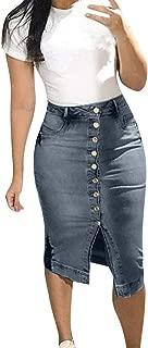 CCatyam Plus Size Skirt for Women, Jeans Dress Denim Button Split Slim Sexy Party Summer Fashion