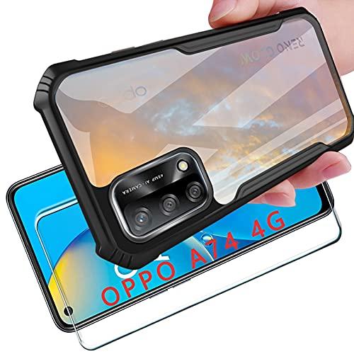 Tasch HYMY Coque pour Oppo A74 4G Housse TPU Silicone Etui, Intégrale de Protection Robuste Anti-Choc avec Protecteur d'écran Rugged Armor Bumper Case-Noir