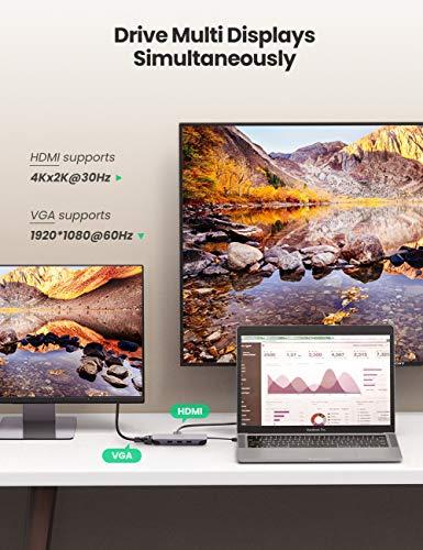 UGREEN USB C Hub 9 in 1 HDMI VGA Adapter mit 4K HDMI, VGA, Type C PD, Ethernet kompatibel mit MacBook Pro 2020, Surface Pro 7, Surface Go 2, Dell XPS 15, iPad Pro 2020 usw.