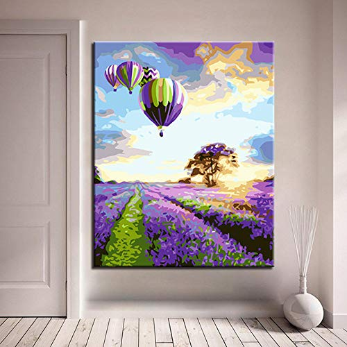 Canvas Print DIY Digitale Olie Schilderen door Nummers Kits Kleurplaten Tekenen Hot Air Balloon Geluk Set Kaars Canvas Foto's Home Decor 50Cmx70Cm