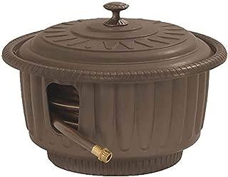 Suncast 50' Capacity Garden Hose Reel Pot - Contemporary Garden Hose Holder for Garden, Lawn and Patio - Leader Hose Included with Fashionable Outdoor Decor Design - Brown