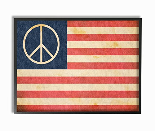 The Stupell Home Décor Collectie Vrede Amerikaanse Vlag Muurschildering Kunst